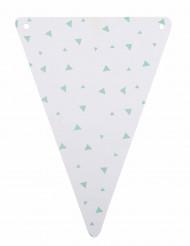 5 Fanions en carton blanc et triangles menthe