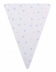 5 Fanions en carton blanc et triangles bleu ciel