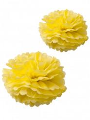 2 pompons papier de soie jaune 40 et 50 cm