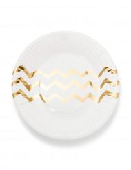 12 Petites assiettes en carton blanches chevrons dorés 18cm