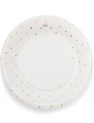 12 Assiettes en carton blanches à pois dorés 23cm