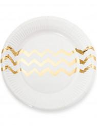 12 Assiettes en carton blanches chevrons dorés 23cm