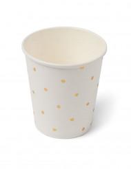 12 Gobelets en carton blancs à pois dorés 200ml