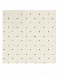 20 Serviettes en papier blanches à pois dorés 33cm