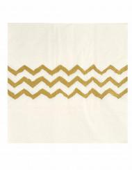 20 Serviettes en papier blanches chevrons dorés 33 cm
