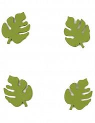 10 Confettis en bois feuilles tropicales