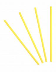 20 Pailles en carton jaune citron