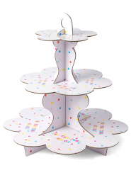 Présentoir en carton 3 étages anniversaire tutti frutti 34cm