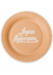 12 Assiettes en carton anniversaire kraft & blanc 23 cm