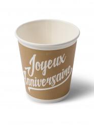 20 Gobelets en carton anniversaire kraft & blanc 200ml