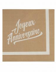 20 Serviettes en papier anniversaire kraft & blanc 33cm
