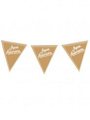 Guirlande à fanions anniversaire Kraft & blanc 3.60m