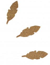 10 Plumes en papier à paillettes dorées