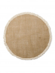 Centre de table rond toile de jute à franges 52 cm