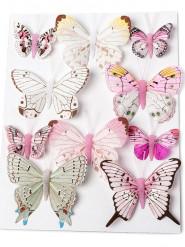 10 Papillons roses sur tige