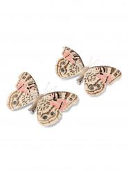 2 Papillons sur pince rose et taupe