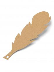 10 Etiquettes plumes Kraft avec ficelle 14 cm