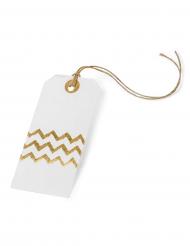 8 Etiquettes en papier blanches chevron or