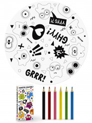 6 Coloriages + 6 crayons Petits monstres