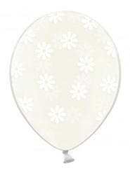6 Ballons transparents fleurs blanches