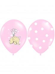 6 Ballons éléphants roses