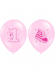 6 Ballons latex roses 1 an fille