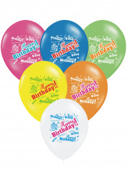 6 Ballons multicolores Happy Birthday