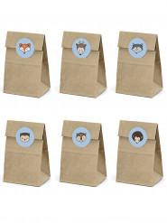 6 Sacs en papier Kraft + stickers forêt