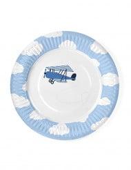 6 Petites assiettes Petit Avion 18 cm