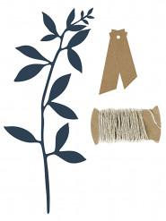 6 Marque-places étiquettes kraft et feuilles bleues