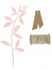 6 Marque-places étiquettes kraft et feuilles roses
