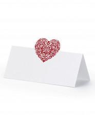 25 Marque-places coeur rouge