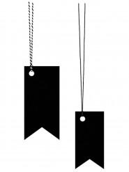 6 Etiquettes fanions noirs