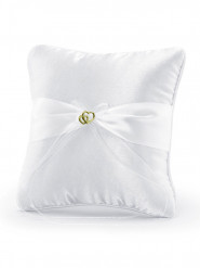 Coussin satin blanc avec coeurs or