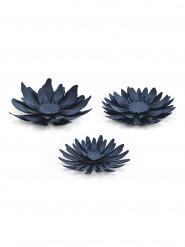 3 Fleurs en papier bleu marine
