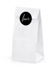 6 Sachets blancs avec stickers Love