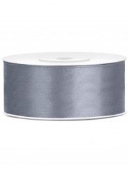 Ruban satin gris 2,5 cm x 25 m