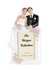 Figurine mariés avec cadre photo 14 cm
