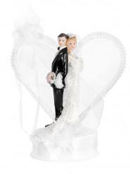 Figurine mariés avec socle et arche coeur 15 cm