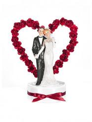 Figurine mariés avec socle et arche coeur rouge 16 cm
