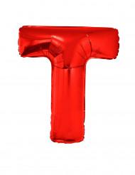 Ballon aluminium géant lettre T rouge 102 cm