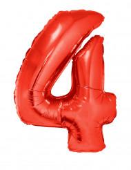 Ballon aluminium géant chiffre 4 rouge 102 cm