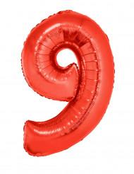 Ballon aluminium géant chiffre 9 rouge 102 cm