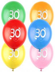12 Ballons différentes couleurs chiffre âge 30