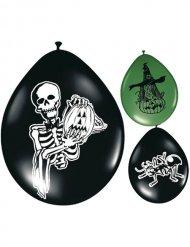 8 ballons Halloween noir et vert