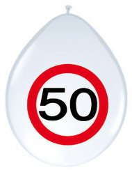 8 ballons 50 ans rouge blanc