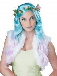 Perruque fée fleur turquoise