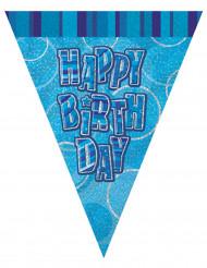 Guirlande fanions bleu Happy Birthday 2,74 m