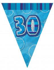 Guirlande fanions bleu Age 30 ans 2,74 m