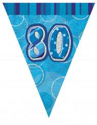 Guirlande fanions bleu Age 80 ans 2,74 m